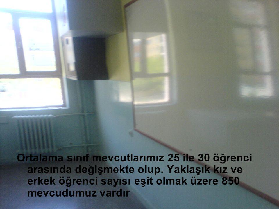 Ortalama sınıf mevcutlarımız 25 ile 30 öğrenci arasında değişmekte olup.