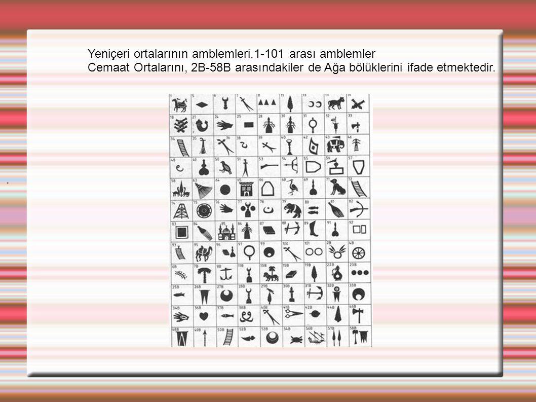 Yeniçeri ortalarının amblemleri.1-101 arası amblemler