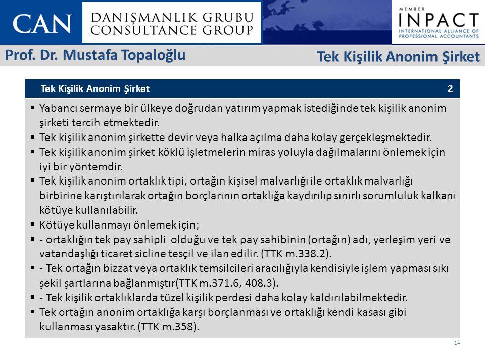 Prof. Dr. Mustafa Topaloğlu Tek Kişilik Anonim Şirket
