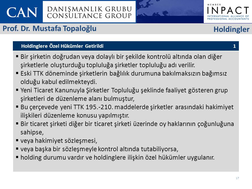 Prof. Dr. Mustafa Topaloğlu Holdingler