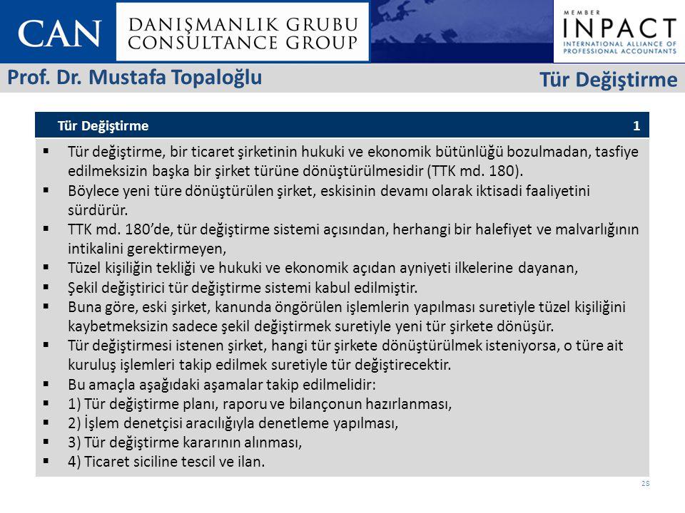 Prof. Dr. Mustafa Topaloğlu Tür Değiştirme