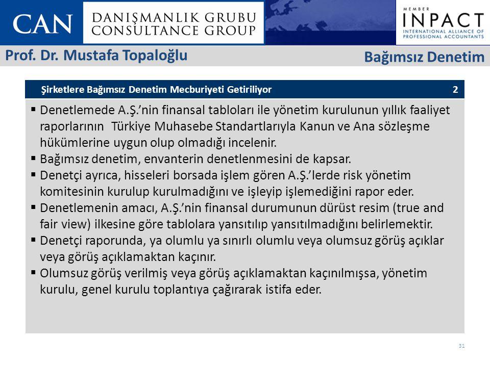Prof. Dr. Mustafa Topaloğlu Bağımsız Denetim