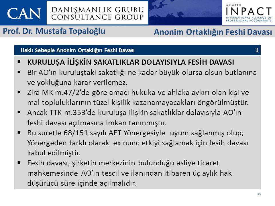 Prof. Dr. Mustafa Topaloğlu Anonim Ortaklığın Feshi Davası