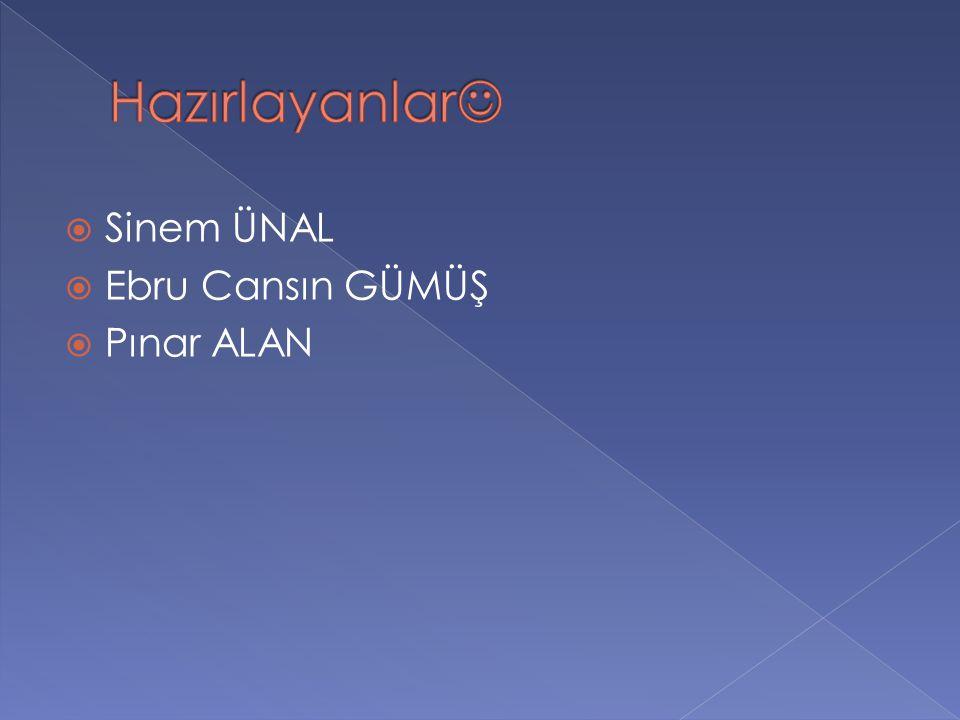 Hazırlayanlar Sinem ÜNAL Ebru Cansın GÜMÜŞ Pınar ALAN