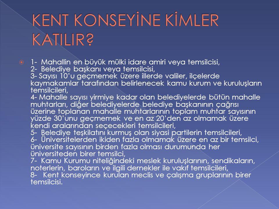 KENT KONSEYİNE KİMLER KATILIR