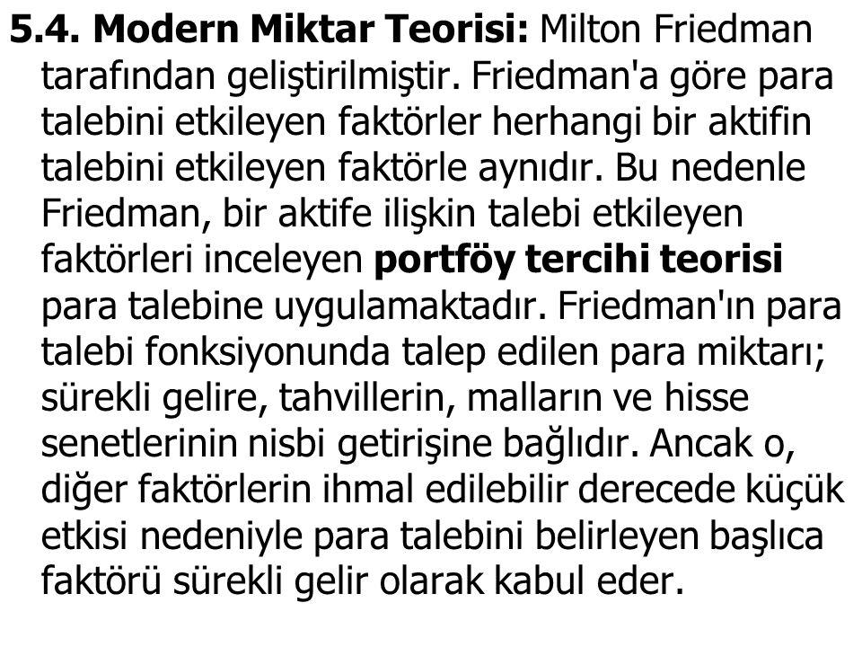 5.4. Modern Miktar Teorisi: Milton Friedman tarafından geliştirilmiştir.