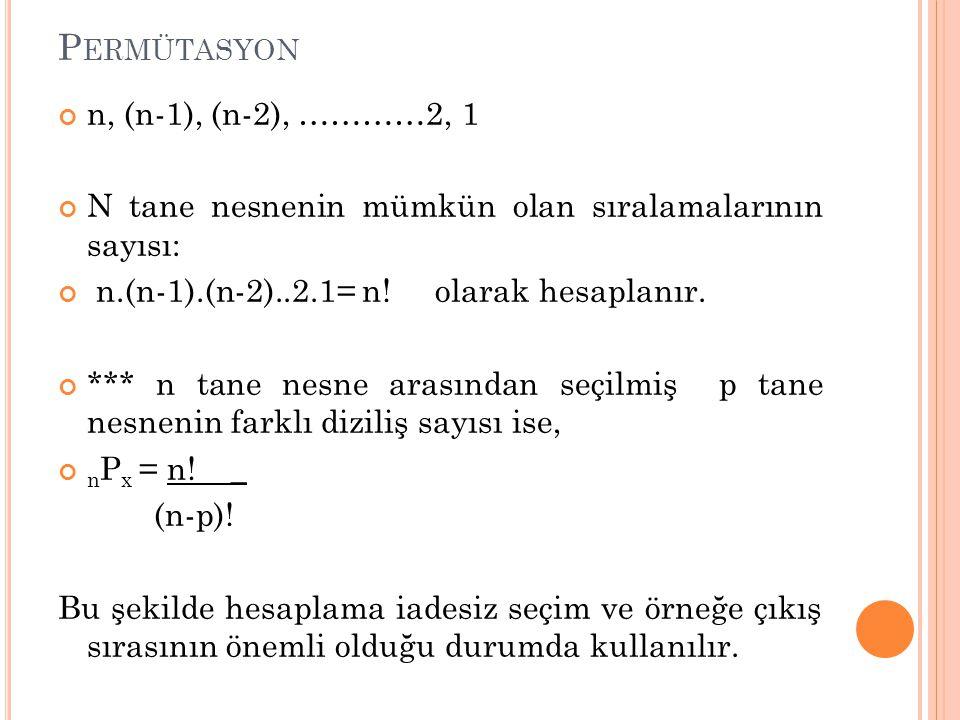 Permütasyon n, (n-1), (n-2), …………2, 1