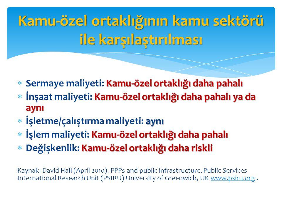 Kamu-özel ortaklığının kamu sektörü ile karşılaştırılması