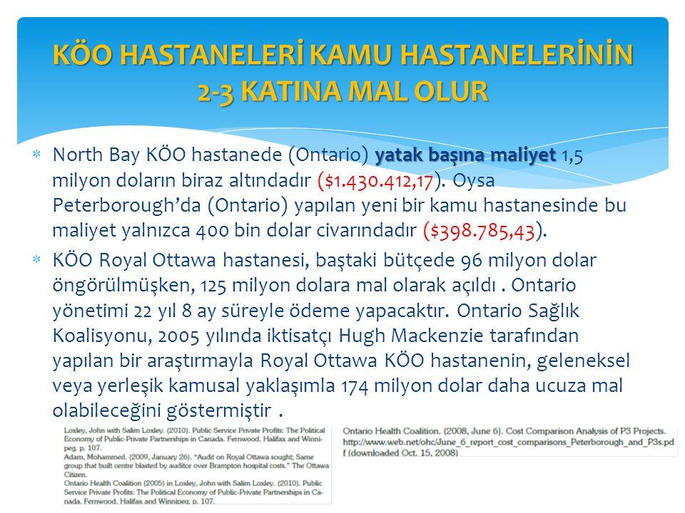 KÖO HASTANELERİ KAMU HASTANELERİNİN 2-3 KATINA MAL OLUR