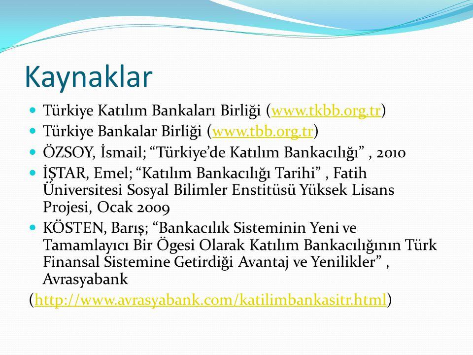 Kaynaklar Türkiye Katılım Bankaları Birliği (www.tkbb.org.tr)