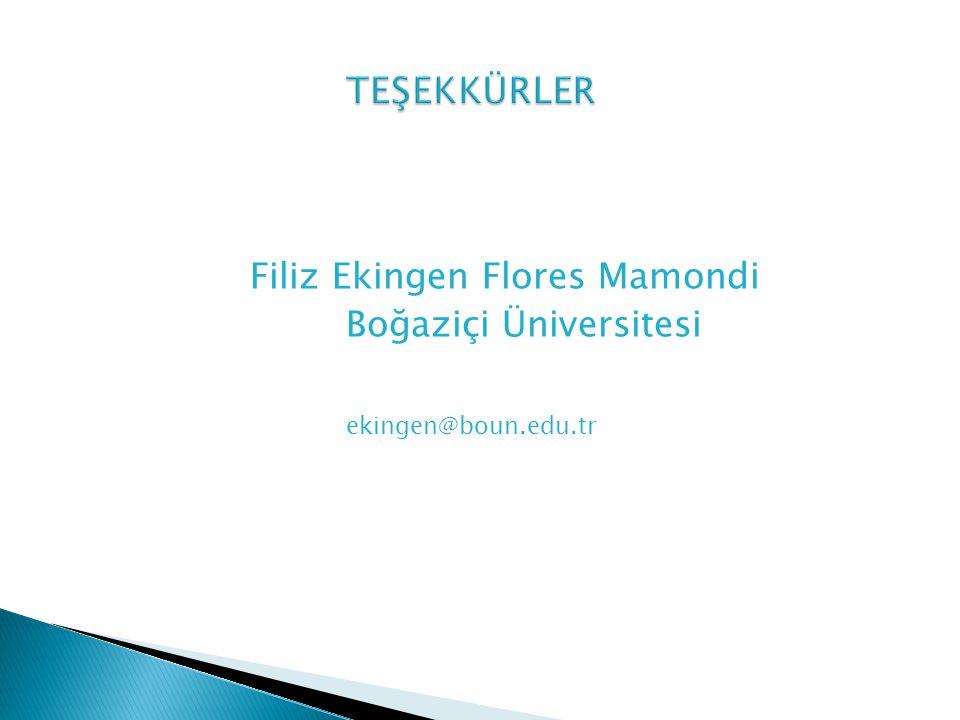 TEŞEKKÜRLER Filiz Ekingen Flores Mamondi Boğaziçi Üniversitesi