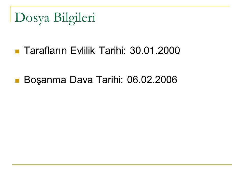 Dosya Bilgileri Tarafların Evlilik Tarihi: 30.01.2000