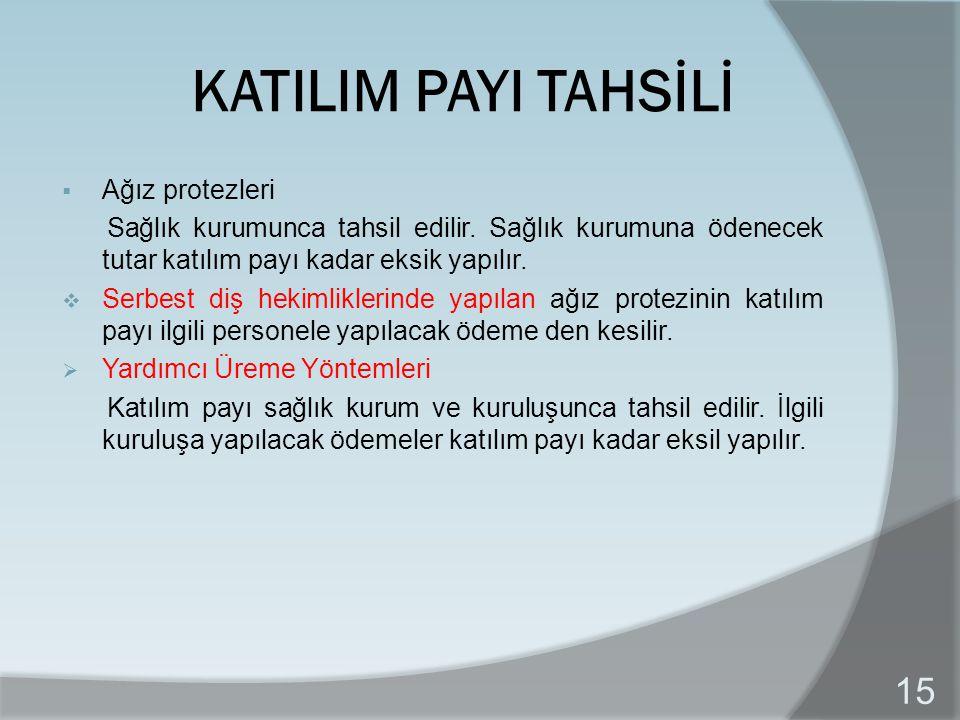 KATILIM PAYI TAHSİLİ Ağız protezleri