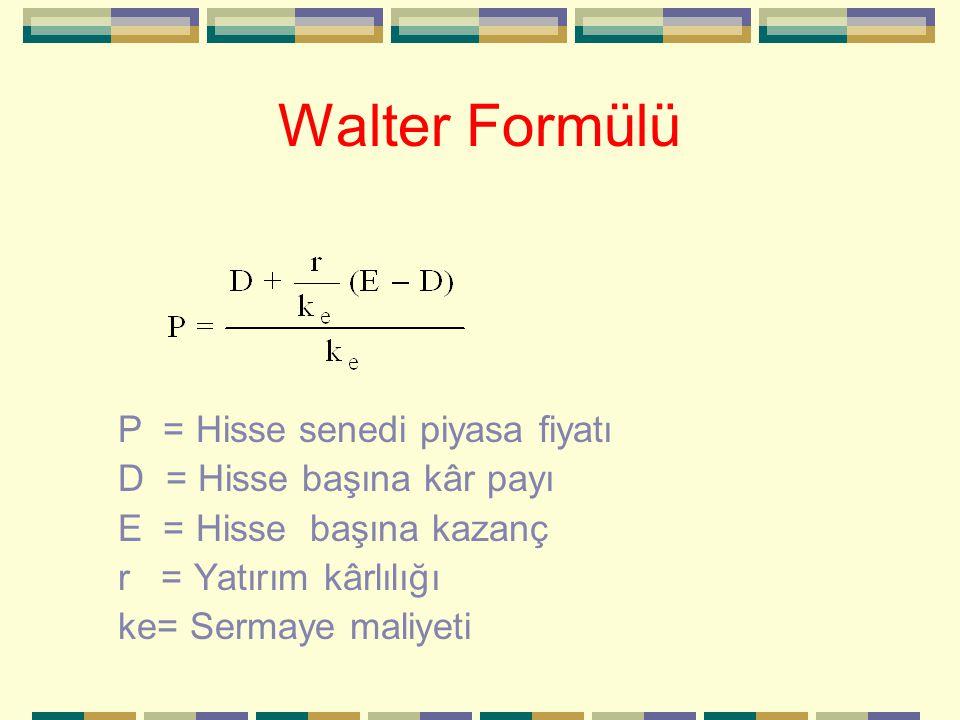 Walter Formülü P = Hisse senedi piyasa fiyatı