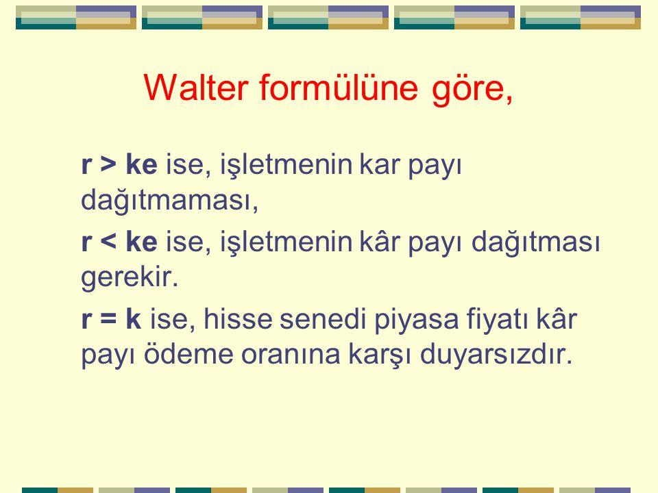 Walter formülüne göre, r > ke ise, işletmenin kar payı dağıtmaması,
