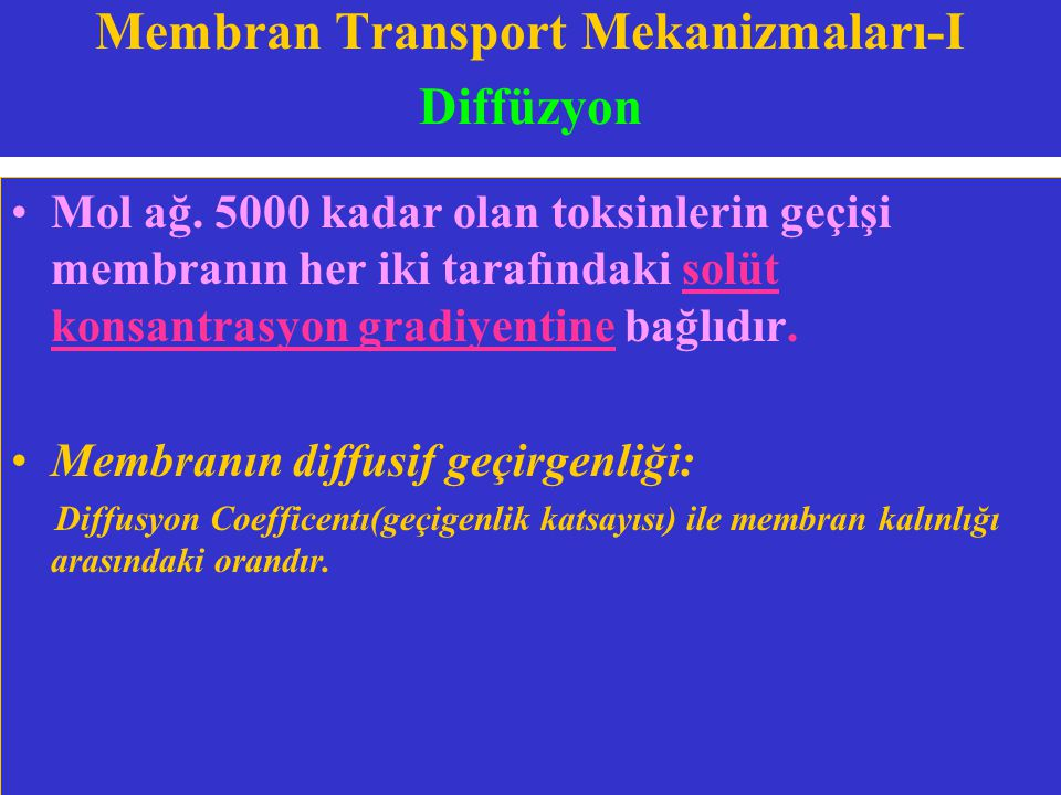 Membran Transport Mekanizmaları-I Diffüzyon