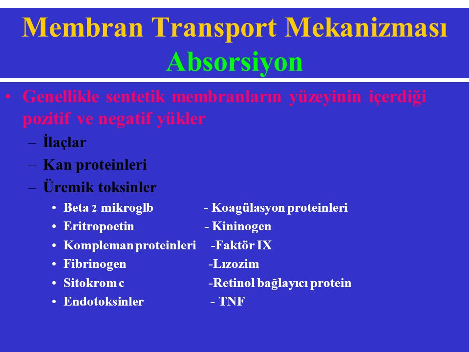 Membran Transport Mekanizması Absorsiyon
