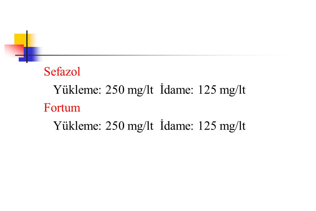 Sefazol Yükleme: 250 mg/lt İdame: 125 mg/lt Fortum