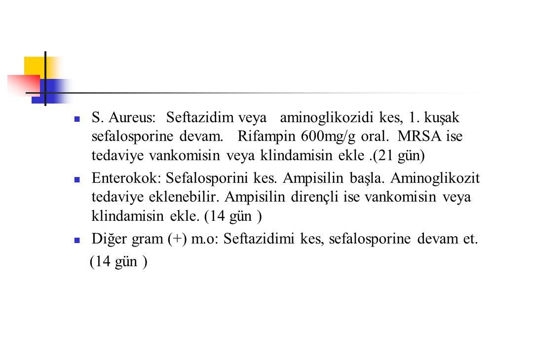 S. Aureus: Seftazidim veya aminoglikozidi kes, 1