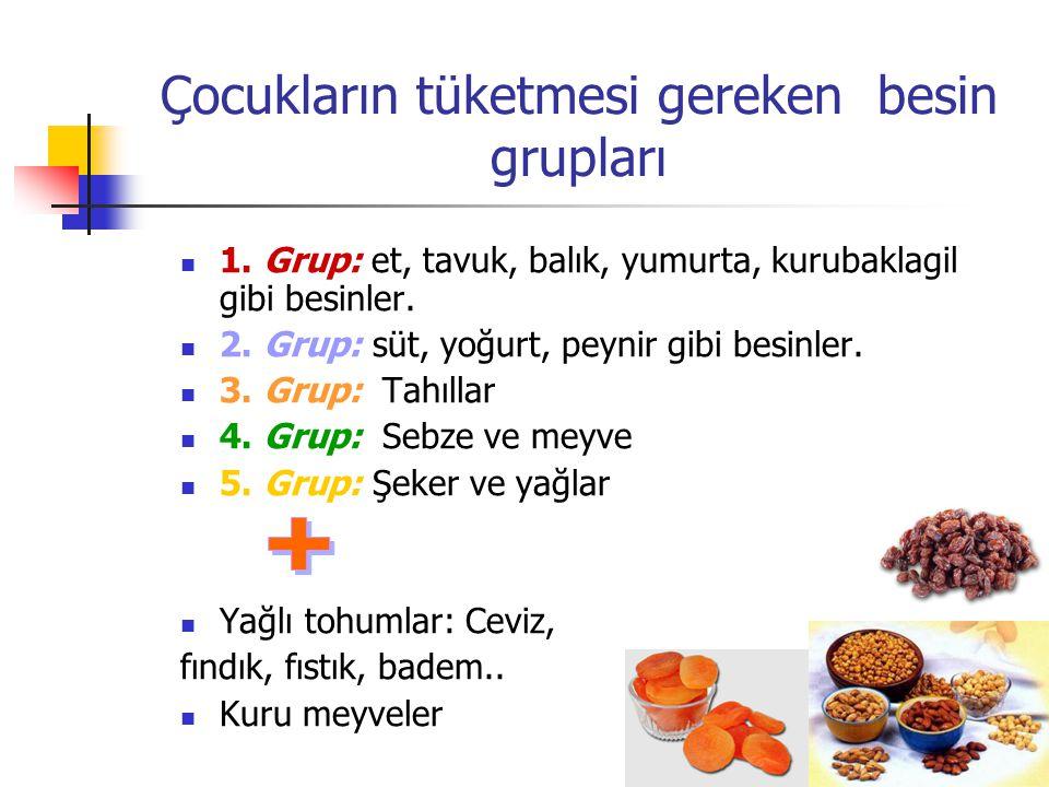 Çocukların tüketmesi gereken besin grupları