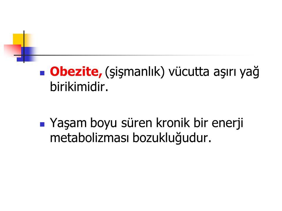 Obezite, (şişmanlık) vücutta aşırı yağ birikimidir.