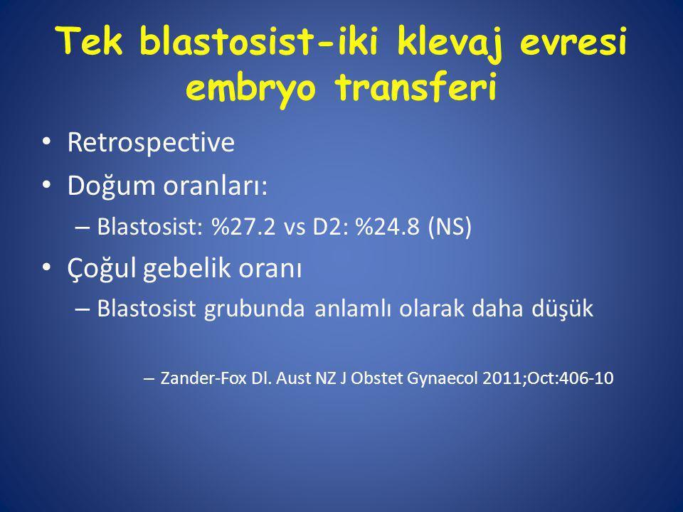 Tek blastosist-iki klevaj evresi embryo transferi