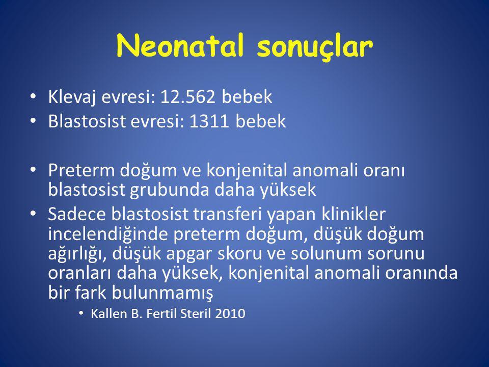 Neonatal sonuçlar Klevaj evresi: 12.562 bebek