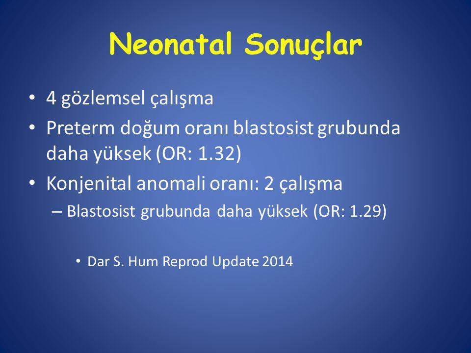 Neonatal Sonuçlar 4 gözlemsel çalışma