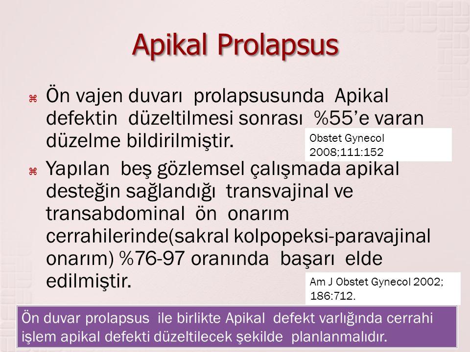 Apikal Prolapsus Ön vajen duvarı prolapsusunda Apikal defektin düzeltilmesi sonrası %55'e varan düzelme bildirilmiştir.