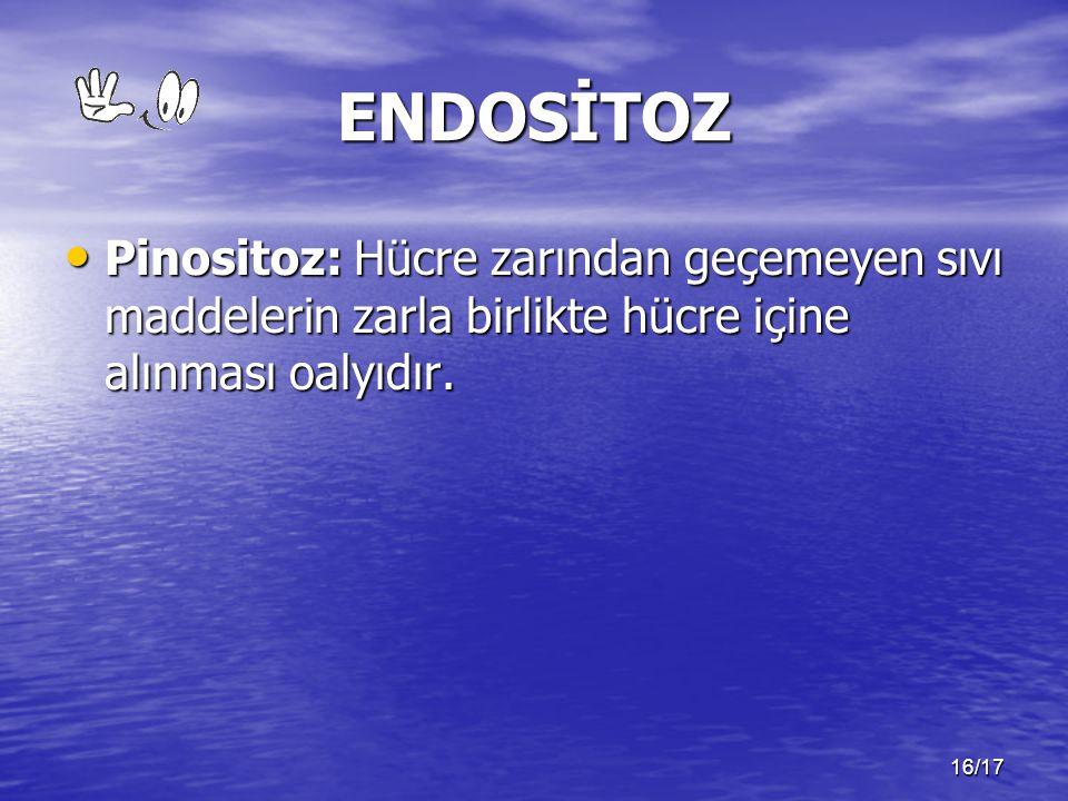 ENDOSİTOZ Pinositoz: Hücre zarından geçemeyen sıvı maddelerin zarla birlikte hücre içine alınması oalyıdır.