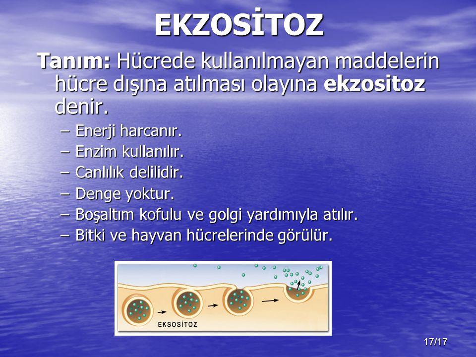 EKZOSİTOZ Tanım: Hücrede kullanılmayan maddelerin hücre dışına atılması olayına ekzositoz denir. Enerji harcanır.