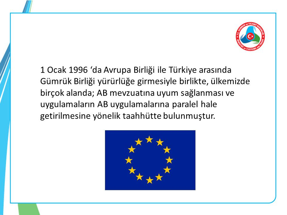 1 Ocak 1996 'da Avrupa Birliği ile Türkiye arasında Gümrük Birliği yürürlüğe girmesiyle birlikte, ülkemizde birçok alanda; AB mevzuatına uyum sağlanması ve uygulamaların AB uygulamalarına paralel hale getirilmesine yönelik taahhütte bulunmuştur.