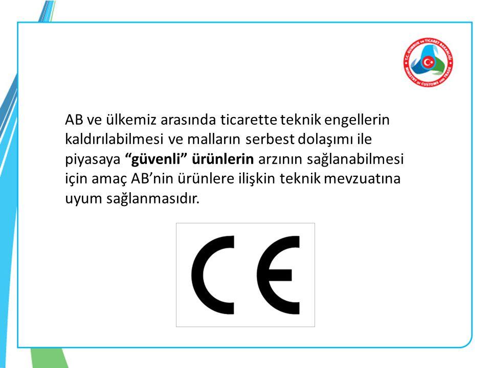 AB ve ülkemiz arasında ticarette teknik engellerin kaldırılabilmesi ve malların serbest dolaşımı ile piyasaya güvenli ürünlerin arzının sağlanabilmesi için amaç AB'nin ürünlere ilişkin teknik mevzuatına uyum sağlanmasıdır.