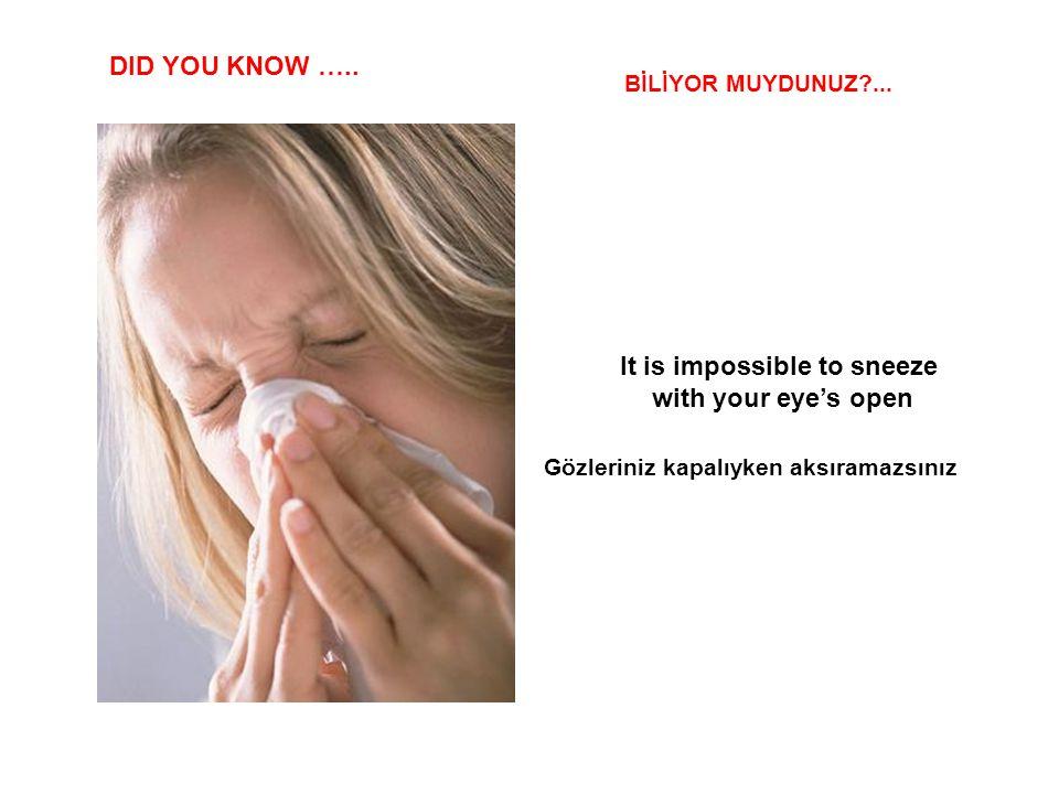 It is impossible to sneeze Gözleriniz kapalıyken aksıramazsınız