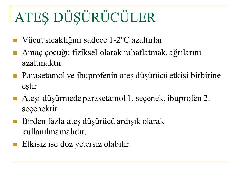 ATEŞ DÜŞÜRÜCÜLER Vücut sıcaklığını sadece 1-2ºC azaltırlar