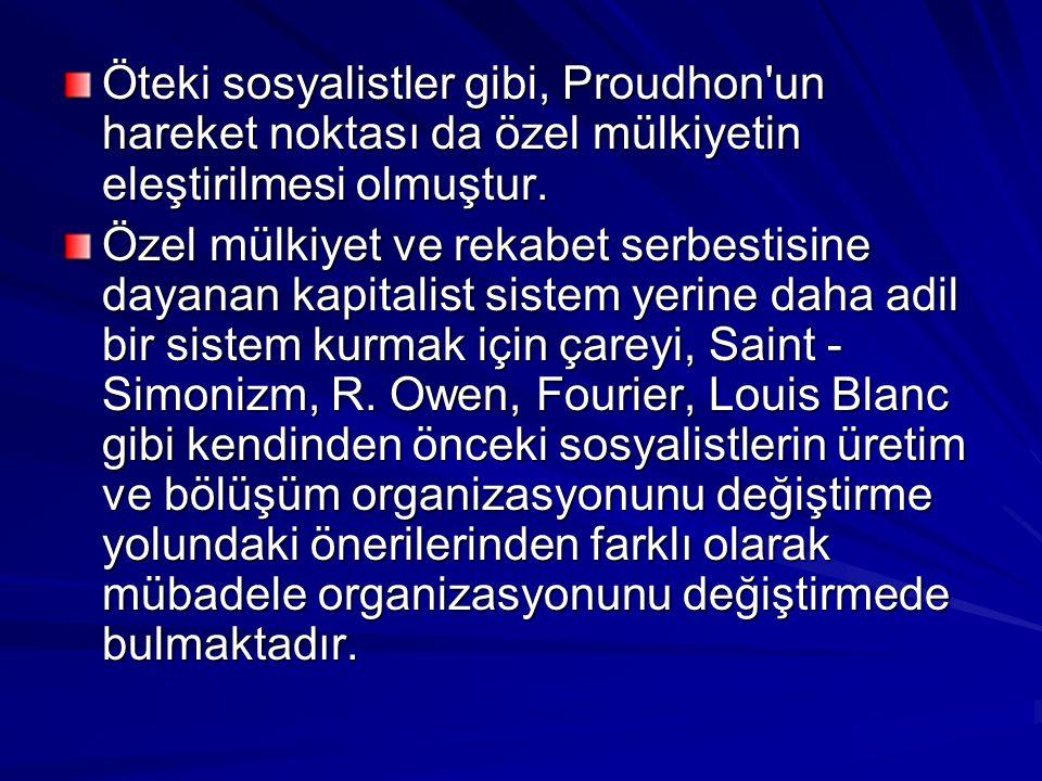 Öteki sosyalistler gibi, Proudhon un hareket noktası da özel mülkiyetin eleştirilmesi olmuştur.
