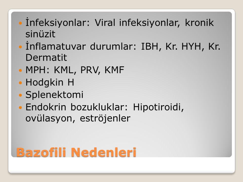 Bazofili Nedenleri İnfeksiyonlar: Viral infeksiyonlar, kronik sinüzit