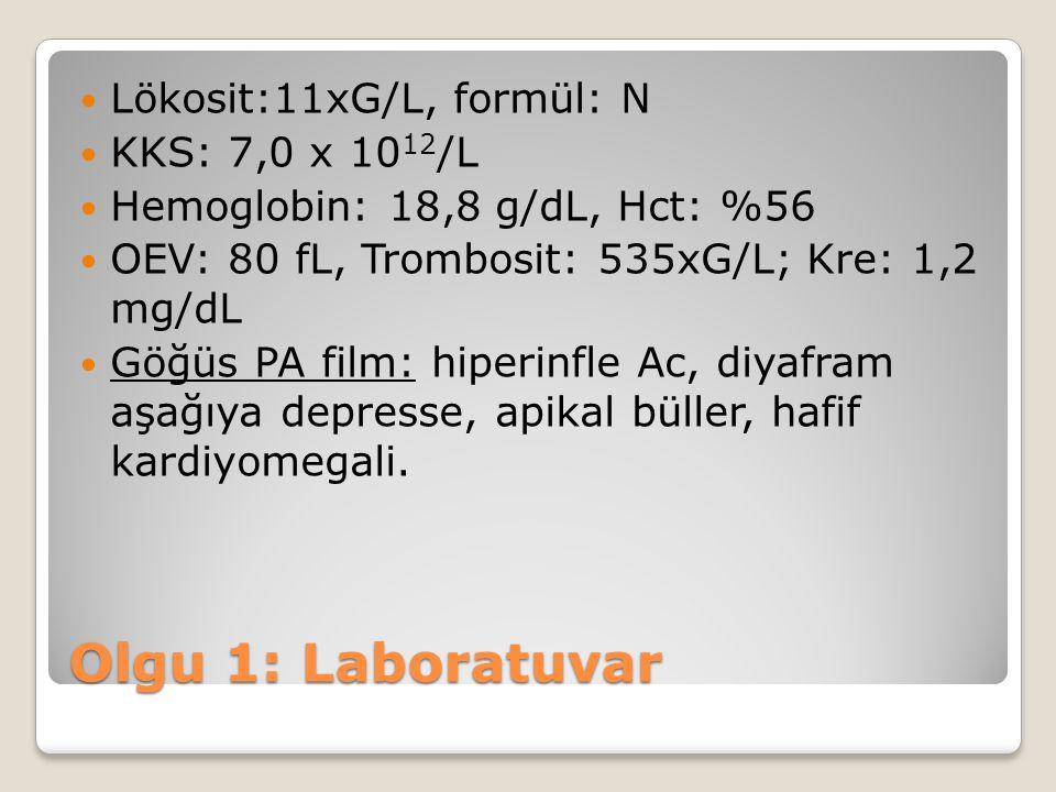 Olgu 1: Laboratuvar Lökosit:11xG/L, formül: N KKS: 7,0 x 1012/L
