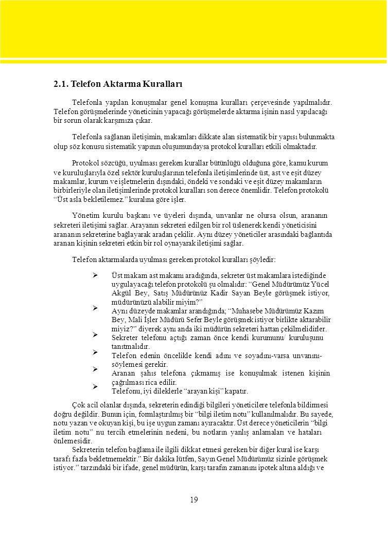 2.1. Telefon Aktarma Kuralları