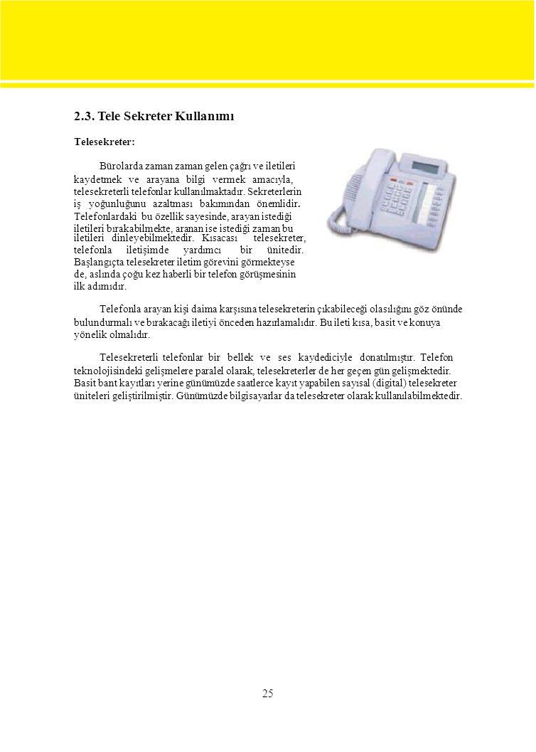2.3. Tele Sekreter Kullanımı