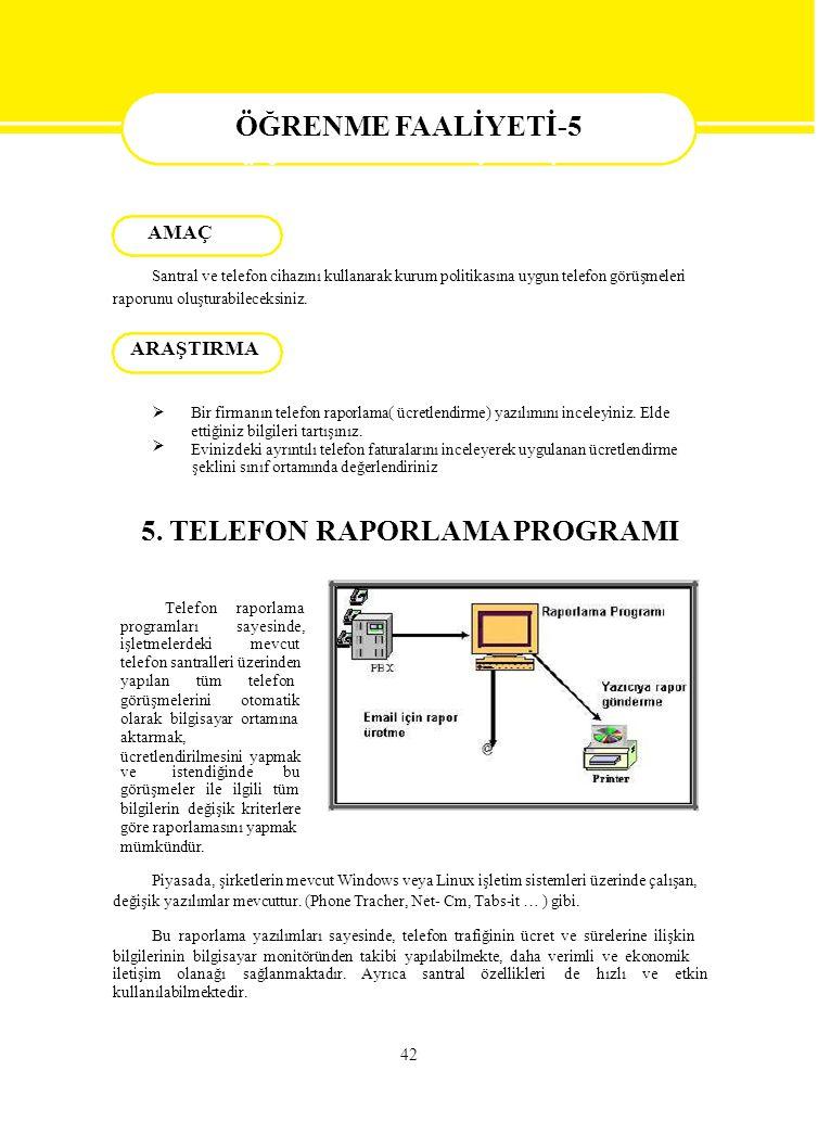 5. TELEFON RAPORLAMA PROGRAMI