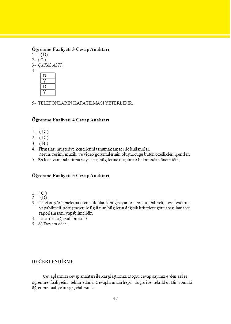 Öğrenme Faaliyeti 3 Cevap Anahtarı