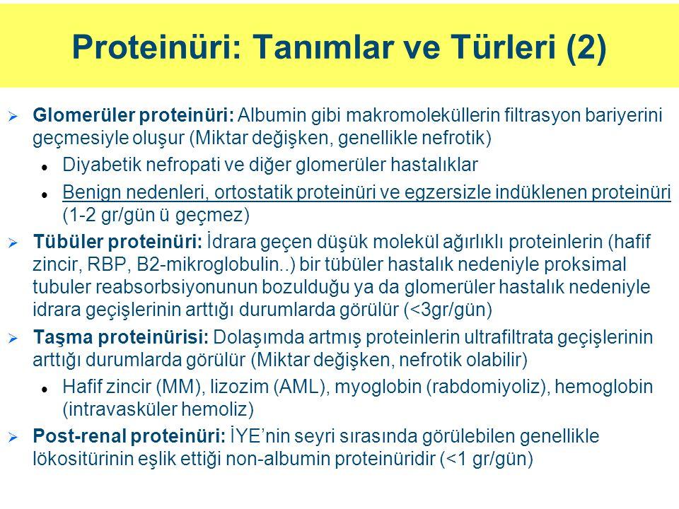 Proteinüri: Tanımlar ve Türleri (2)