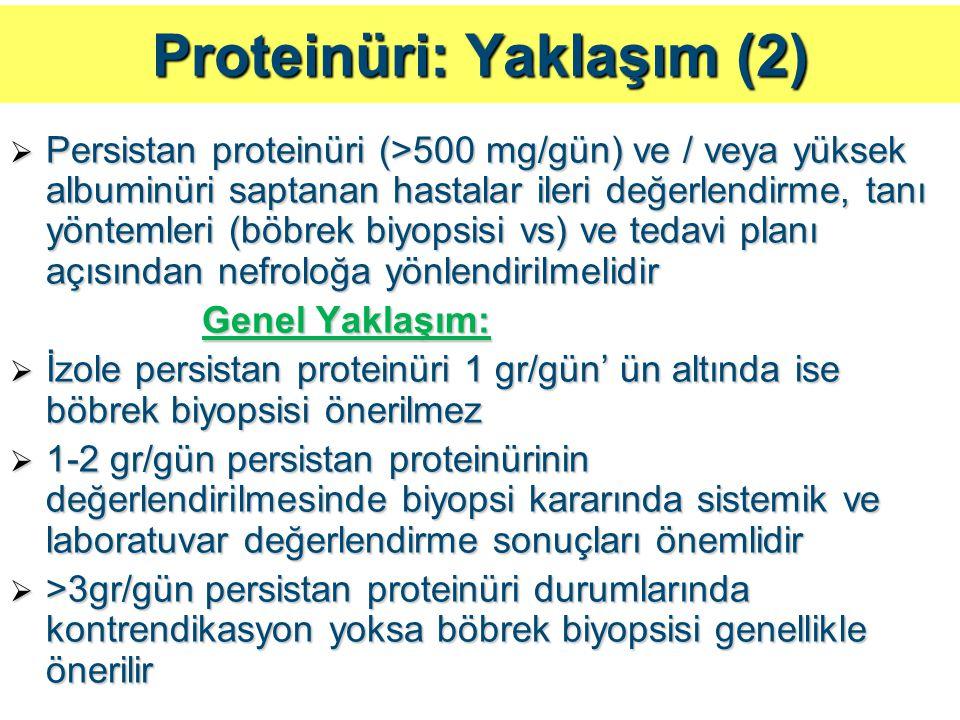 Proteinüri: Yaklaşım (2)