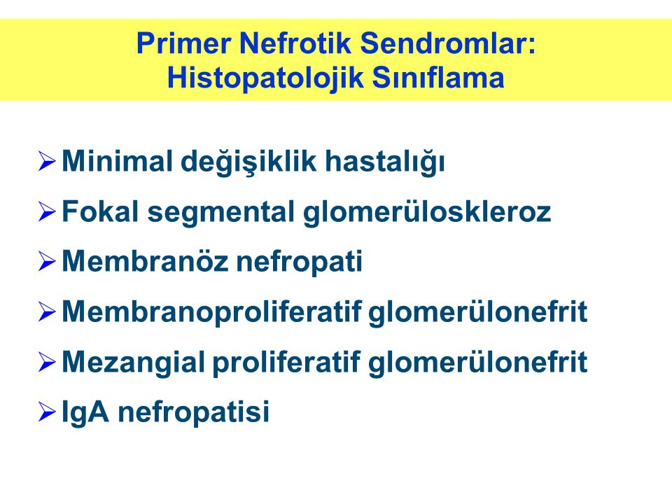 Primer Nefrotik Sendromlar: Histopatolojik Sınıflama