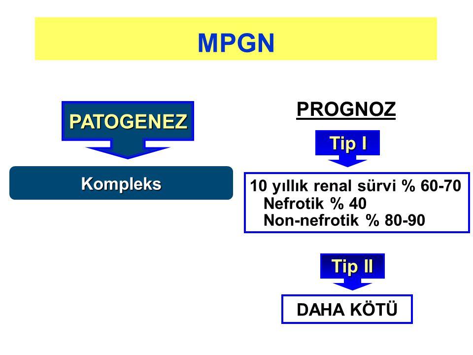 MPGN PROGNOZ PATOGENEZ Tip I Tip II Kompleks DAHA KÖTÜ