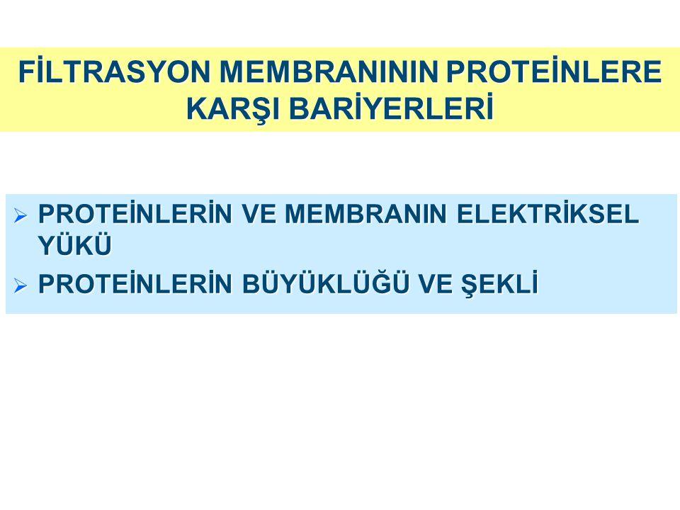 FİLTRASYON MEMBRANININ PROTEİNLERE KARŞI BARİYERLERİ