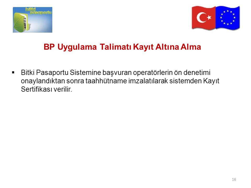 BP Uygulama Talimatı Kayıt Altına Alma