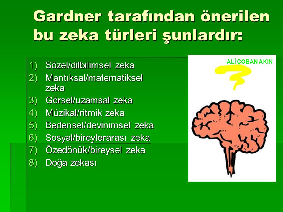 Gardner tarafından önerilen bu zeka türleri şunlardır: