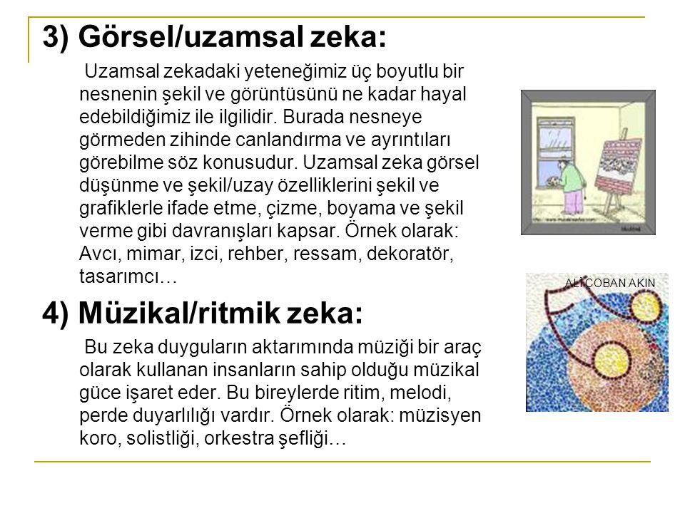 3) Görsel/uzamsal zeka: